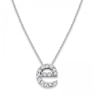 Bitty Diamond Initial Pendant E