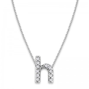 Bitty Diamond Initial Pendant H