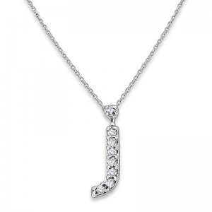 Bitty Diamond Initial Pendant J