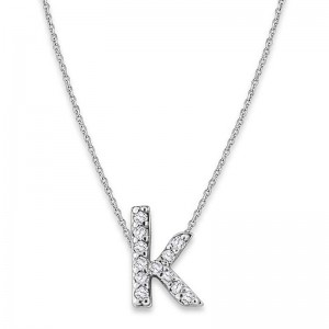 Bitty Diamond Initial Pendant K