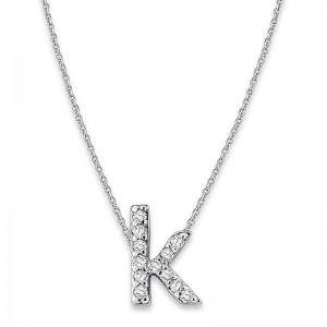 Bitty Diamond Initial Pendant K