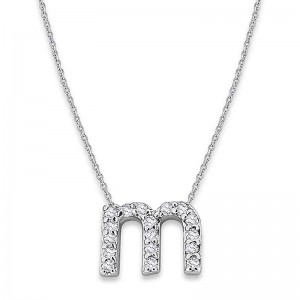 Bitty Diamond Initial Pendant M