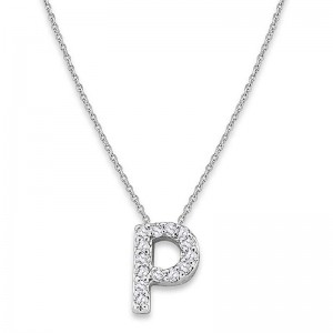 Bitty Diamond Initial Pendant P