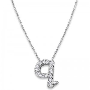 Bitty Diamond Initial Pendant Q