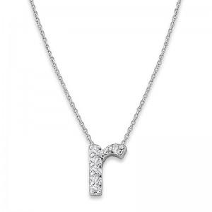 Bitty Diamond Initial Pendant R