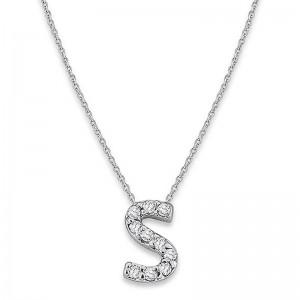 Bitty Diamond Initial Pendant S