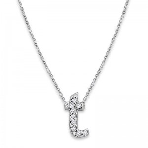 Bitty Diamond Initial Pendant T