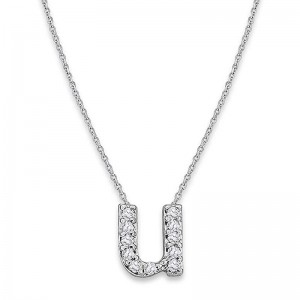 Bitty Diamond Initial Pendant U