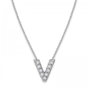 Bitty Diamond Initial Pendant V