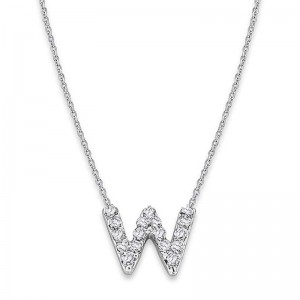 Bitty Diamond Initial Pendant W