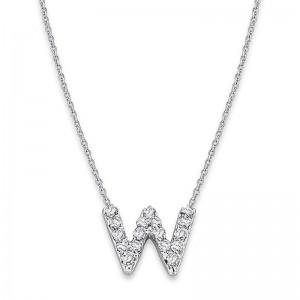Bitty Diamond Initial Pendant W