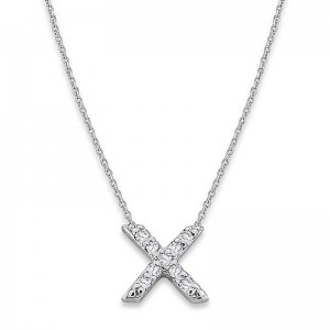 Bitty Diamond Initial Pendant X