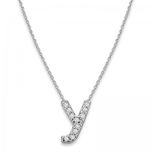 Bitty Diamond Initial Pendant Y