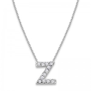 Bitty Diamond Initial Pendant Z