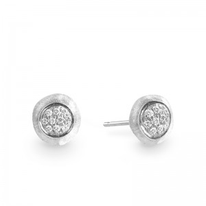 Marco Bicego 18K White Gold Jaipur Collection White Diamond Pave Stud Earrings .15Ctw