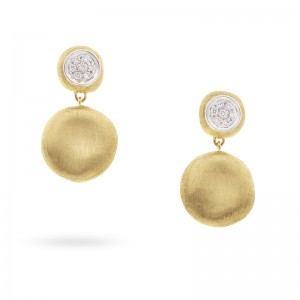 Marco Bicego 18K Yellow Gold Jaipur Collection Small Drop Earrings With Diamonds .11Ctw