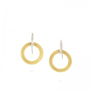Marco Bicego 18K Yellow Gold Masai Collection Circle Earrings With Diamonds .18Ctw