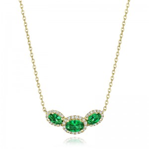 Always On My Mind Emerald and Diamond Three-Stone Oval Pendant