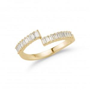 Dana Rebecca Sadie Pearl Split Baguette Ring