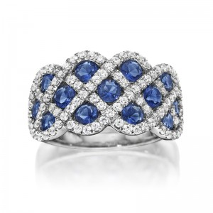 You And Me Sapphire and Diamond Interweaving Ring