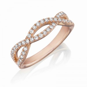 Henri Daussi rose gold infinity style diamond band featuring round brilliant white diamonds