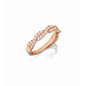 Henri Daussi rose gold band featuring a diamond twist set with round brilliant white diamonds
