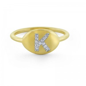 PD Collection Diamond Initial Ring - Available in A, M, & C