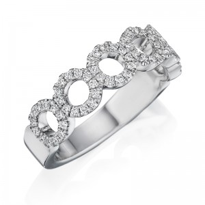 Henri Daussi white gold band featuring diamond circles set with round brilliant white diamonds