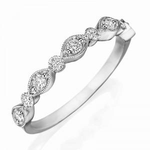 Henri Daussi white gold band featuring round brilliant white diamonds with milgrain detail.