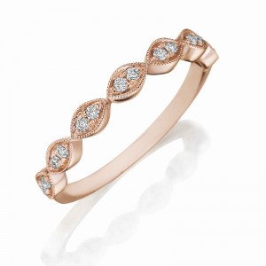 Henri Daussi rose gold band featuring round brilliant white diamonds set in a marquise shape with a milgrain detail