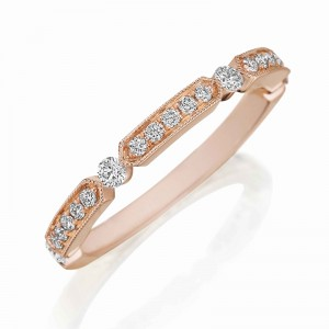 Henri Daussi rose gold band featuring alternating sections of round brilliant white diamonds and round brilliant white diamonds set with a milgrain detail