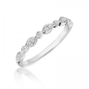 Henri Daussi white gold band featuring round brilliant bezel set white diamonds in a delicate marquise pattern