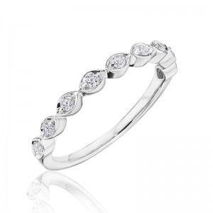 Henri Daussi band featuring round brilliant bead set white diamonds in a marquise design