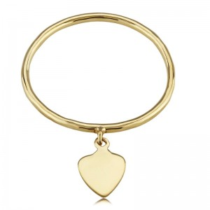 Pd Collection Yg Ring With .03 Hanging Heart Size 6
