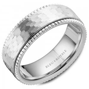 Bleu Royale 14K W&R 7.5Mm Frosted Center And High Polished Edges Band Size 10