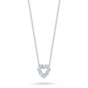 Roberto Coin  White Gold Diamond Baby Heart Necklace