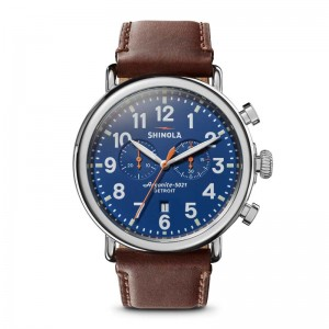 Runwell Chrono 47mm, Brown Leather Strap Watch