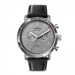 Canfield Sport 45mm, Black Leather Strap Watch