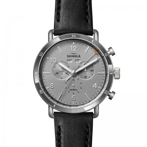 45Mm Ss Canfield Sport With Silver Dial And Black Leather Strap Shinola Watch