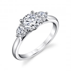 Sylvie  .47Ctw 14K Wg 3-Stone Diamond Ring For 1Ct Rb Center