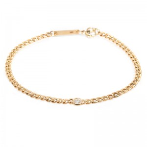 Zoe Chicco Small Curb Chain Bracelet With Floating Diamond