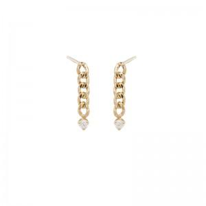 Zoe Chicco 2.4Mm Prong Diamond Small Curb Chain Drop Earrings