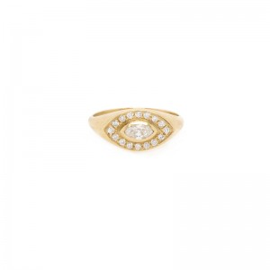 Zoe Chicco Marquise Diamond Halo Signet Ring
