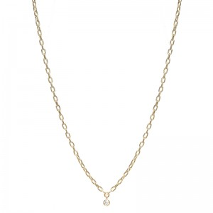 Zoe Chicco Small Square Oval Link Dangling Diamond Bezel Necklace