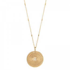 Zoe Chicco Small Sunbeam Medallion Diamond Bezel Necklace