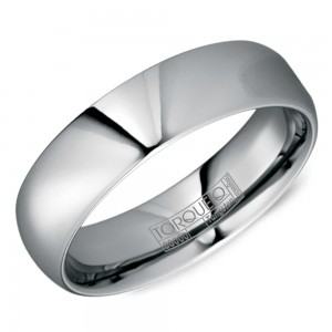 A tungsten Torque band with a polished finish.