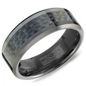A Torque black ceramic Torque band with a black carbon fiber inlay.