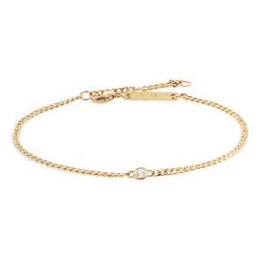 Zoe Chicco Extra Small Curb Chain Bracelet With Floating Diamond