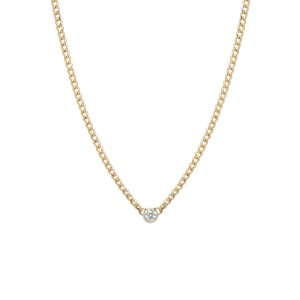 Zoe Chicco 3mm bezel set diamond curb link necklace