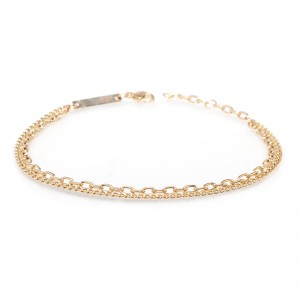 Zoe Chicco xsmall curb and small square oval double chain bracelet